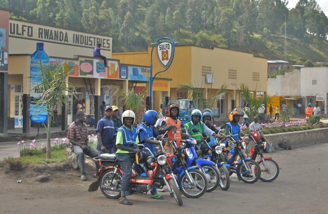 Motorcycle taxis in Gisenyi, Rwanda
