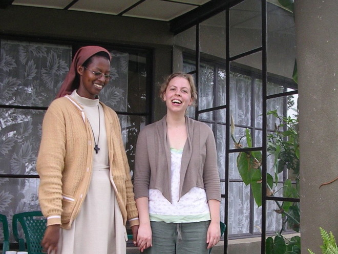 Nora Anne Brown at Maison St Benoit convent, near Gisenyi, Rwanda