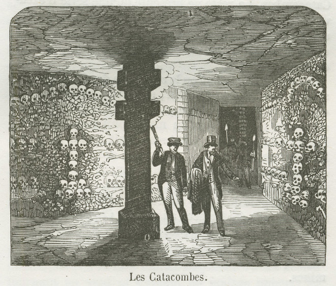 Engraving of the Paris Catacombs 1855